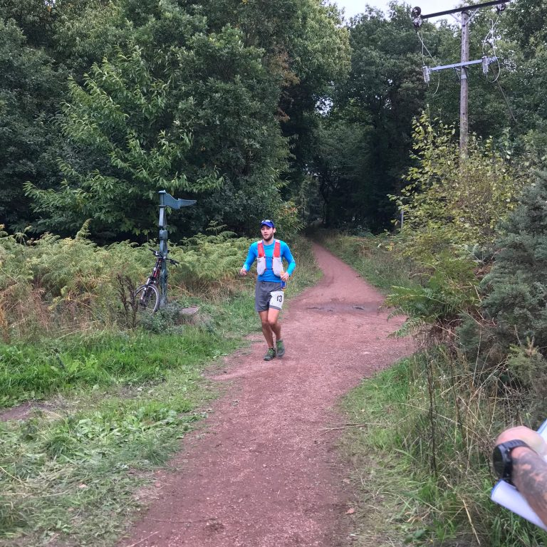 lead runner coming into Aid station 6 again at 60.5 miles on the Robin Hood 100 ultramarathon