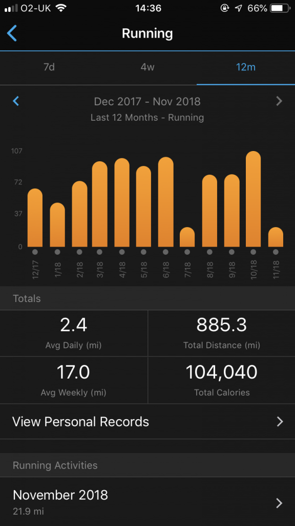 Getting monthly mileage from Garmin Connect App screen 4