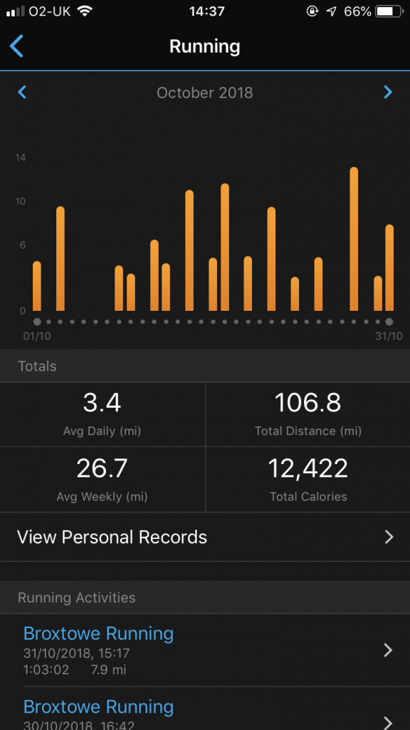 Getting monthly mileage from Garmin Connect App screen 5