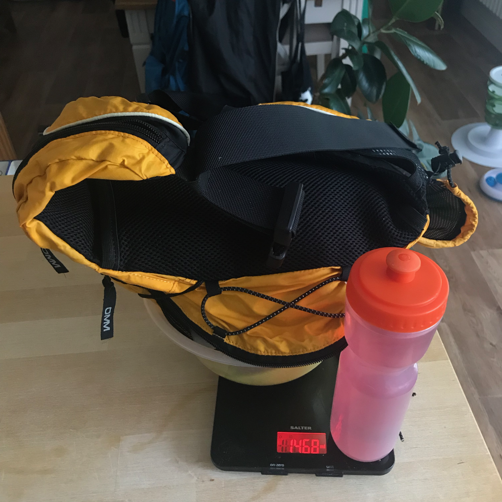 Weighing FRA approved kit, bag and drink for Kinder Downfall 2019