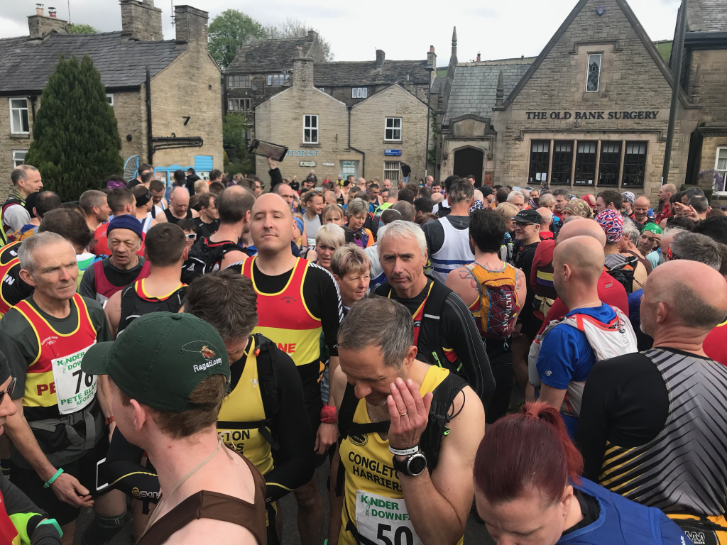 Runners at the start line for the Kinder Downfall 2019 fell race