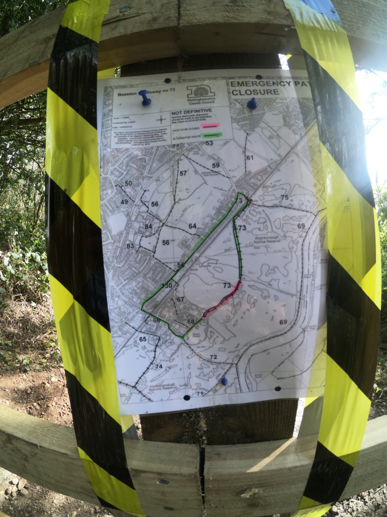 Notice showing an alternative route due to the closure of a weak bridge in Attenborough nature reserve