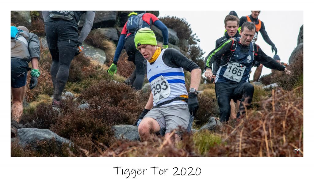 beeston runner descending from Carl Walk on the 2020 Tigger Tor fell race